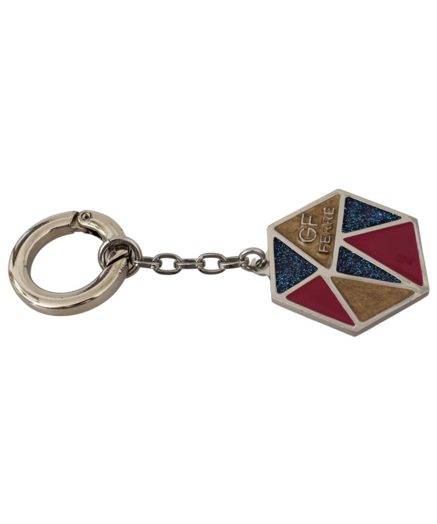 Image for GF Ferre Yellow Blue Red Ring Branded Logo Keyring