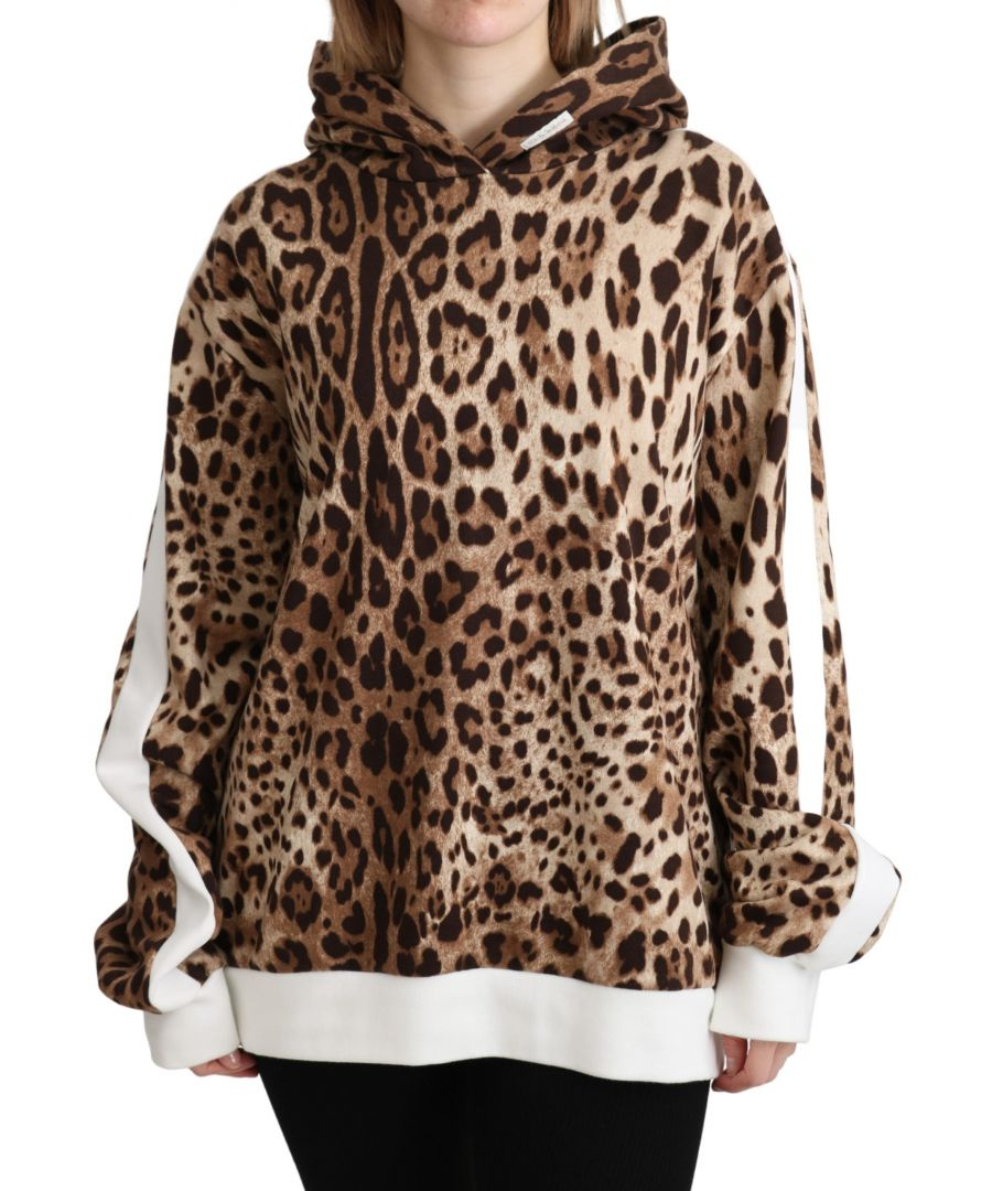 Image for Dolce & Gabbana Brown Leopard Hooded Pullover Cotton Sweater