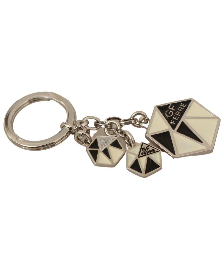 Image for GF Ferre Beige Black Ring Metal Steel Branded Logo Keyring Keychain