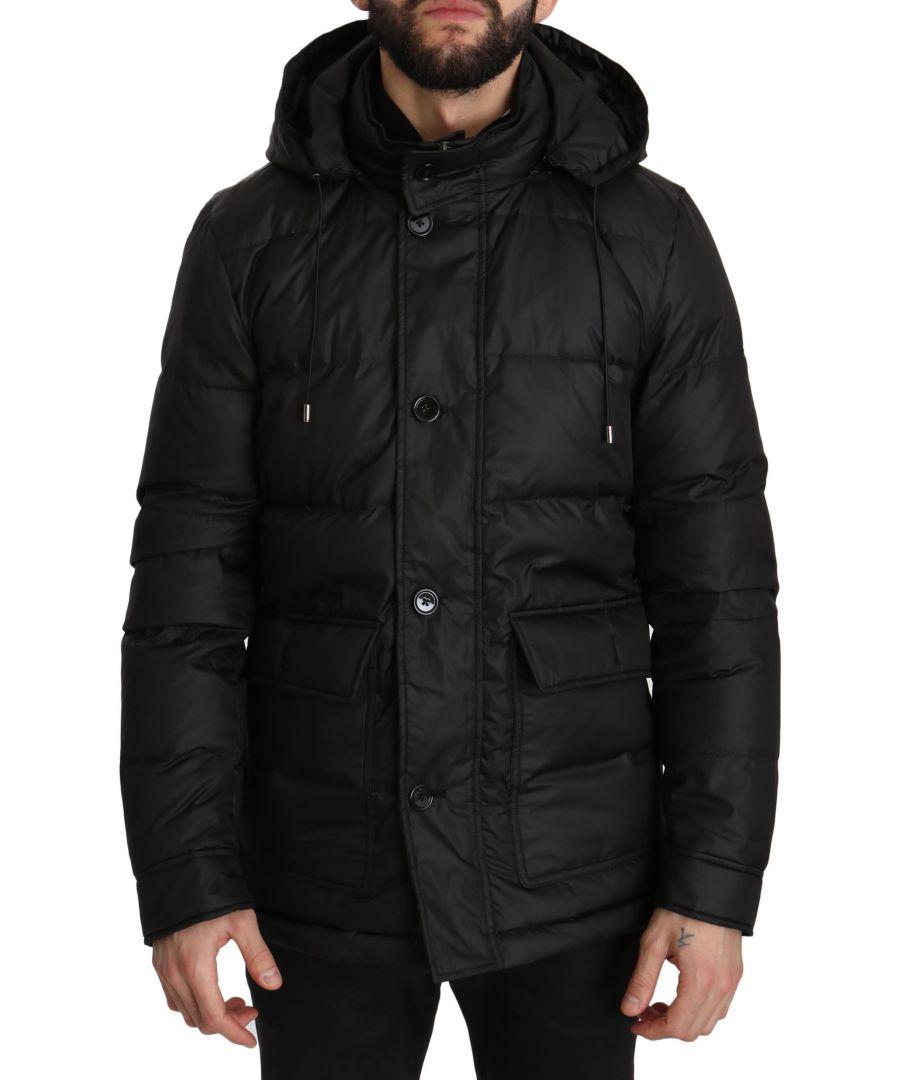 Image for Dolce & Gabbana Black Winter Puffer Hooded Coat Jacket