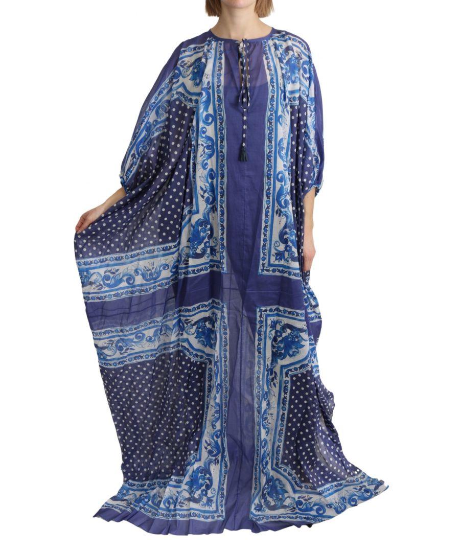 Image for Dolce & Gabbana Blue Majolica Cape Maxi Cotton Dress
