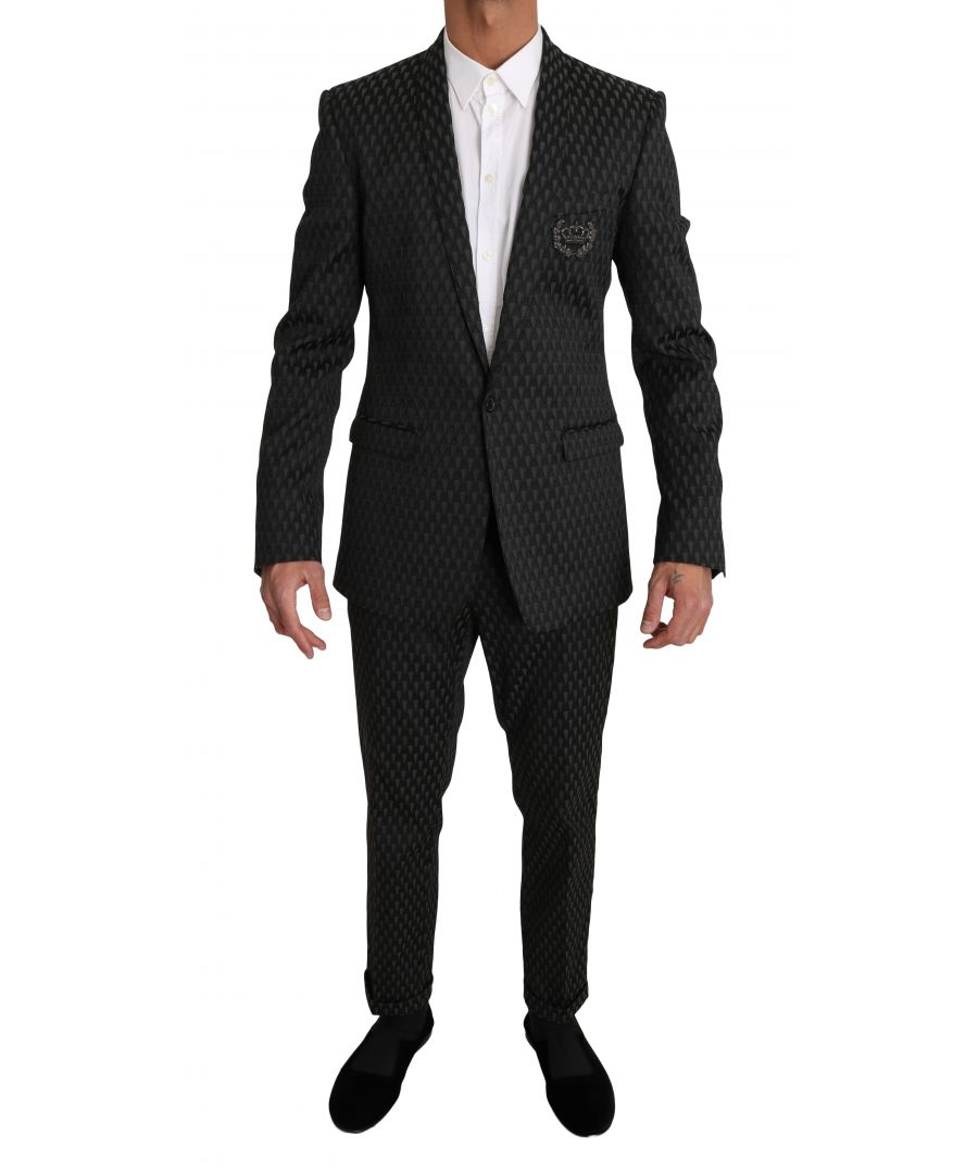 Image for Dolce & Gabbana Black Gray GOLD Crown Logo 2 Piece Suit