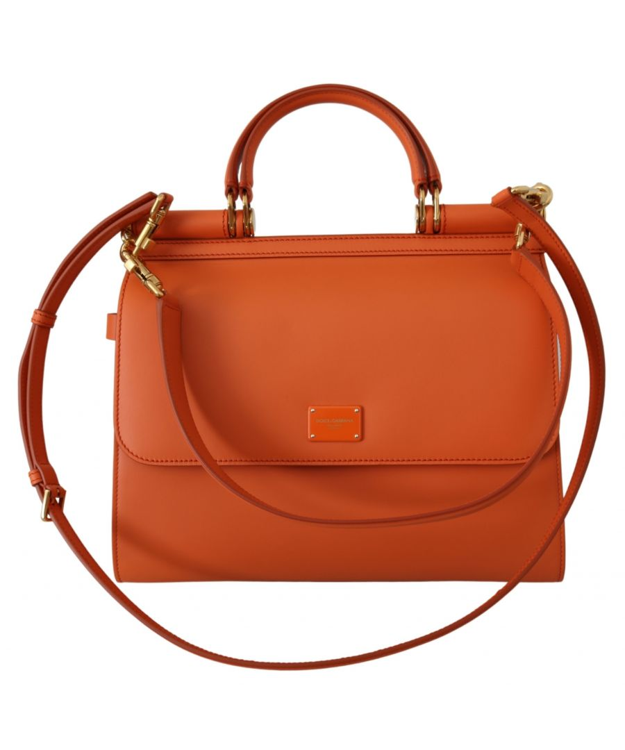 Image for Dolce & Gabbana Orange Leather Purse Borse Satchel Shoulder SICILY Bag