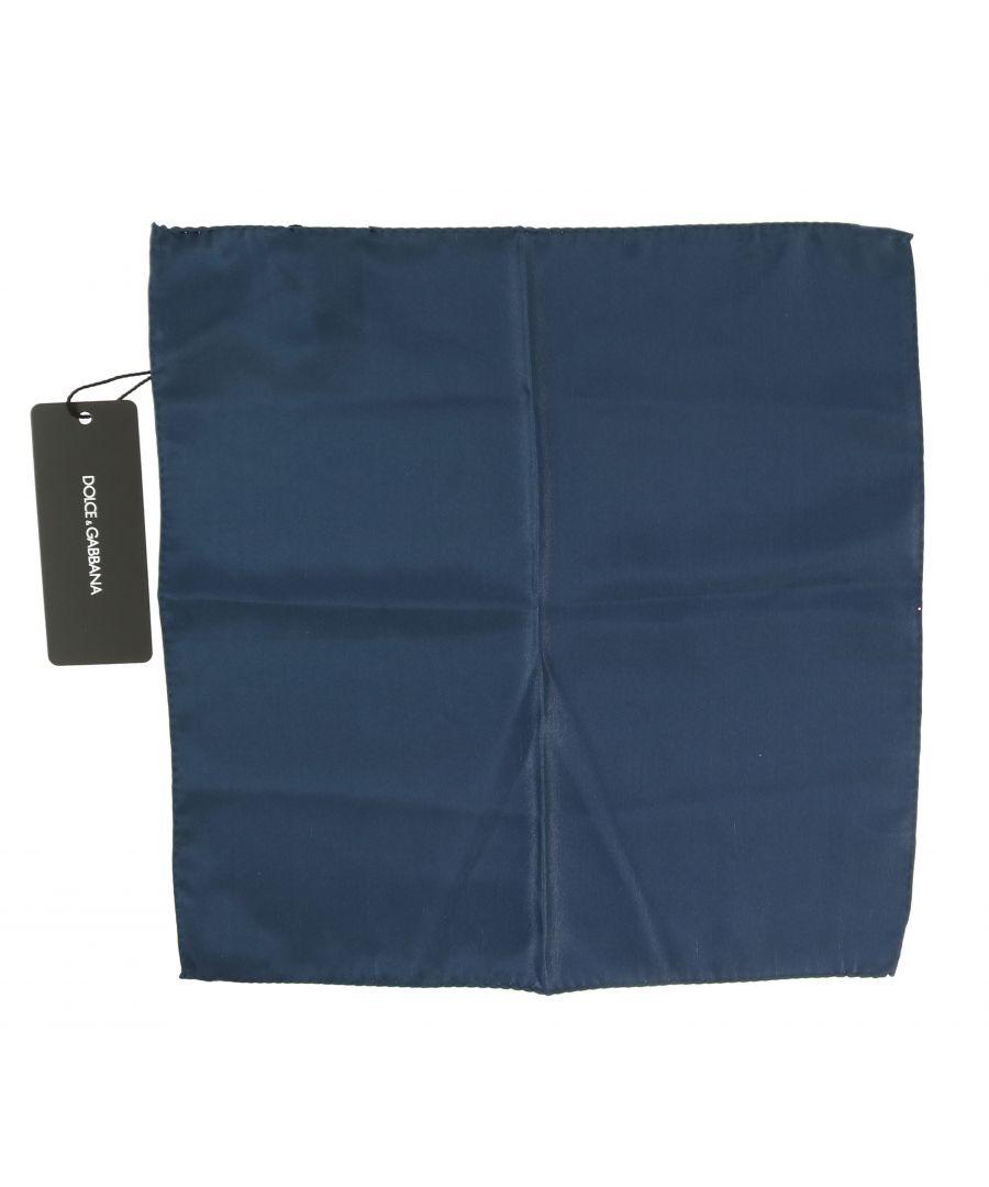 Image for Dolce & Gabbana Silk Blue Square Pocket Handkerchief