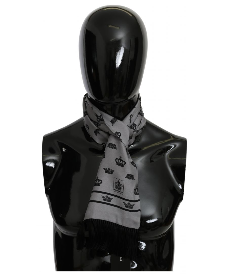 Image for Dolce & Gabbana Gray Crown Wrap Shawl 100% Silk Scarf