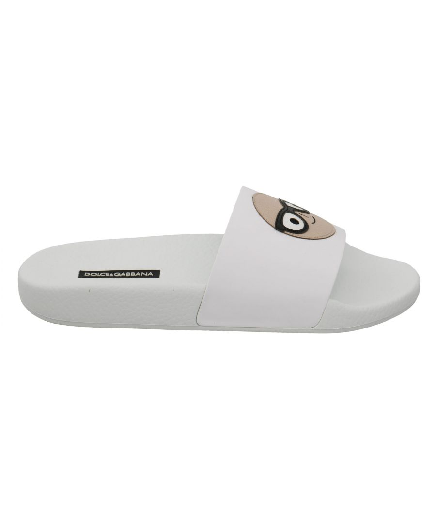Image for Dolce & Gabbana White Leather #dgfamily Slides Shoes Sandals