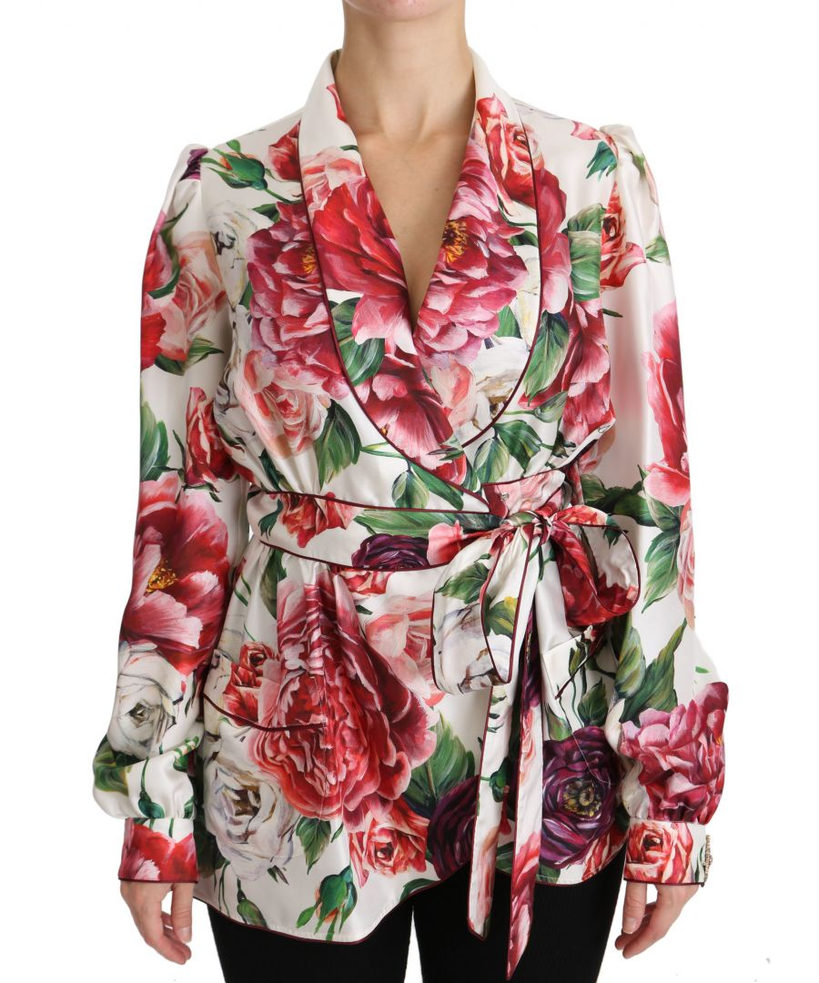 Image for Dolce & Gabbana White Floral Sleepwear Blouse Top Robe