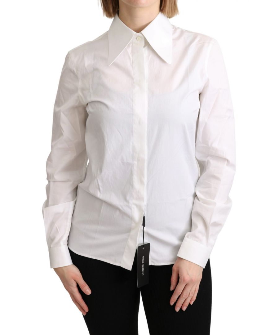 Image for Dolce & Gabbana White Collared Formal Dress Cotton Top