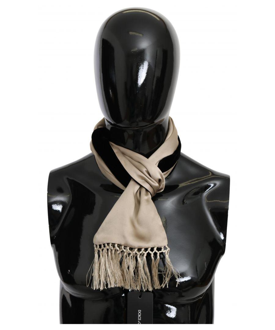 Image for Dolce & Gabbana Beige Silk Viscose Wrap Black Backside Men's Scarf