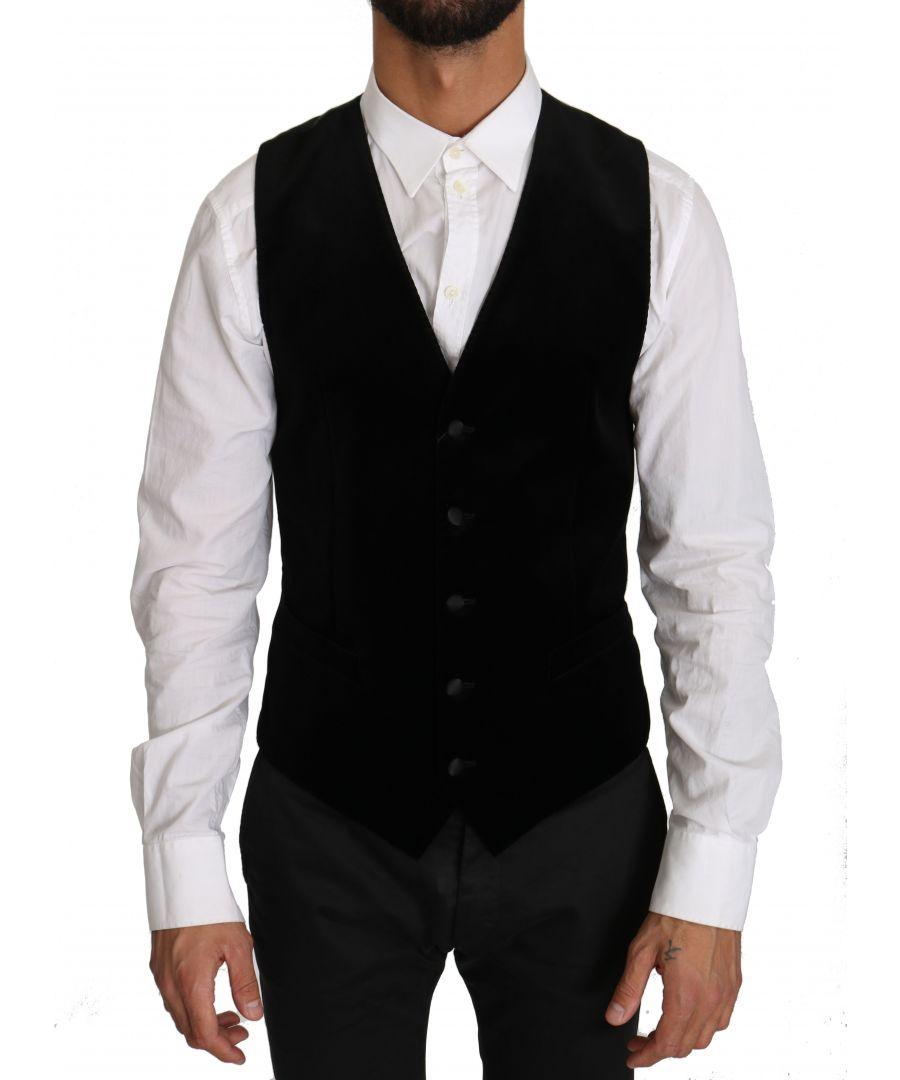 Image for Dolce & Gabbana Black Solid Velvet Cotton Waistcoat Vest