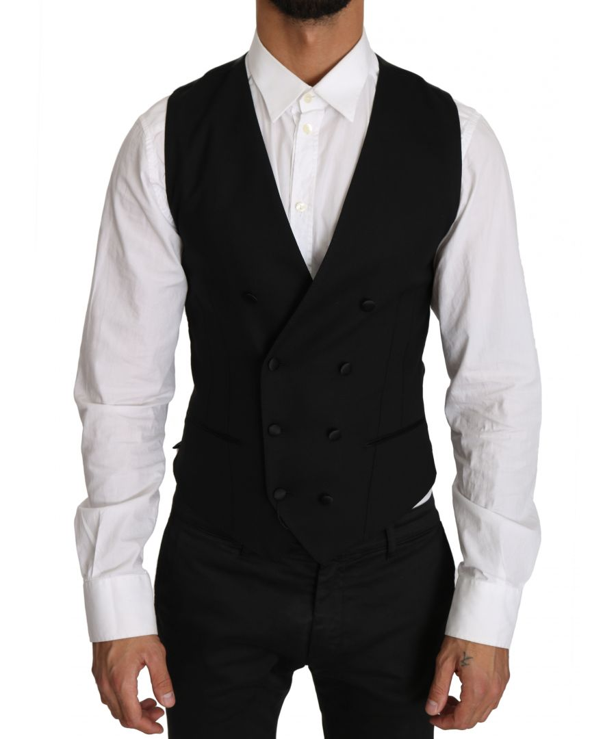 Image for Dolce & Gabbana Gray Wool Double Breasted Waistcoat Vest