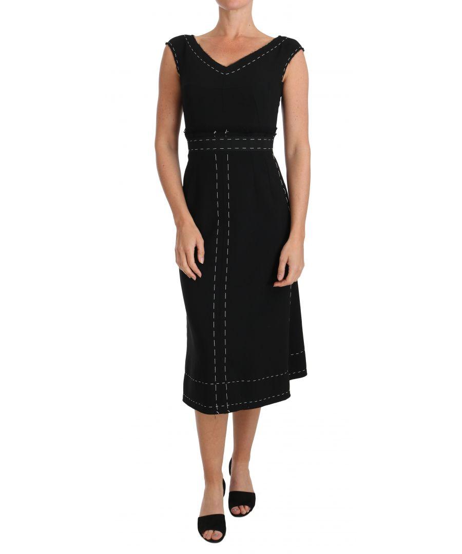 Image for Dolce & Gabbana Black Wool Stretch A-line Sheath Dress