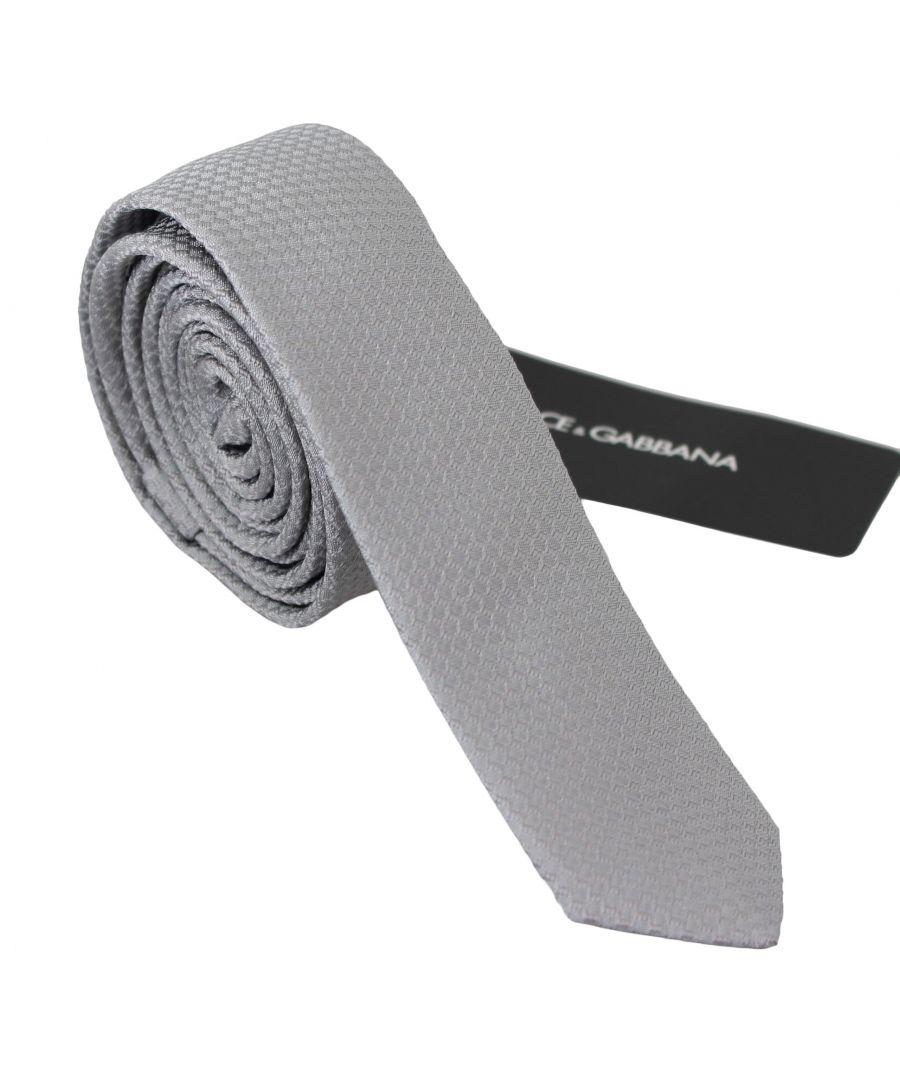 Image for Dolce & Gabbana Grey 100% Silk Embroidered Classic Wide Necktie Tie