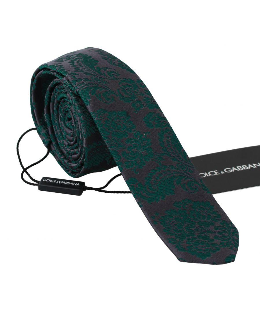 Image for Dolce & Gabbana Grey 100% Silk Embroidered Green Floral Necktie