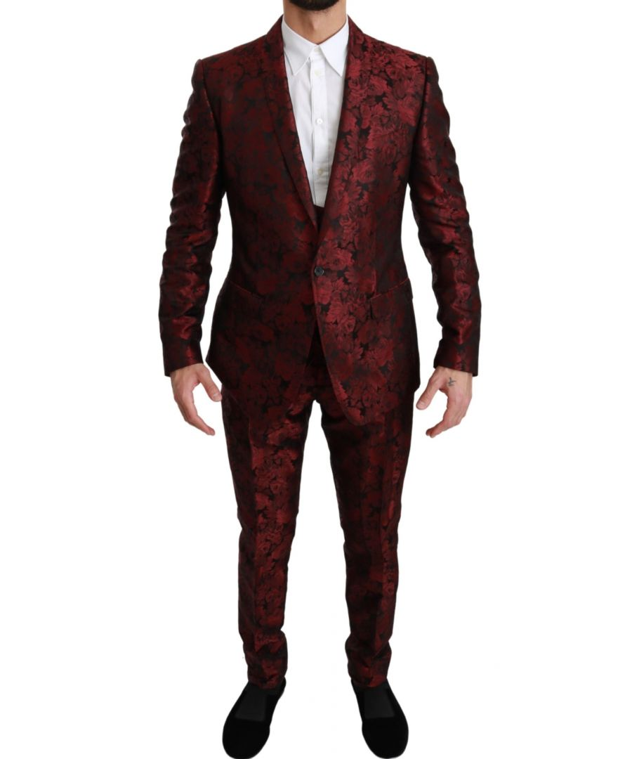 Image for Dolce & Gabbana Bordeaux MARTINI Floral Silk 3 Piece Suit