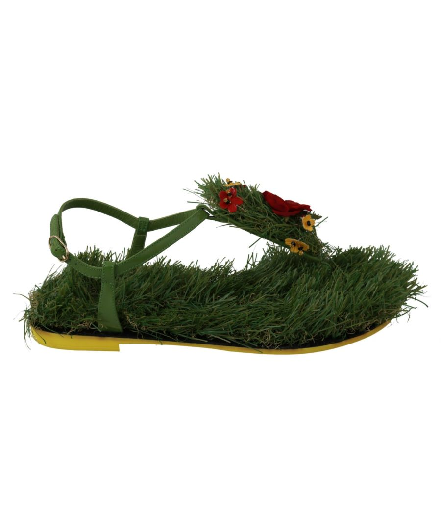 Image for Dolce & Gabbana Green Leather Grass Floral Sandals Shoes