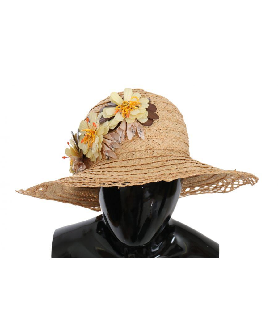 Image for Dolce & Gabbana Beige Wide Brim Floral Bucket Capello Hat