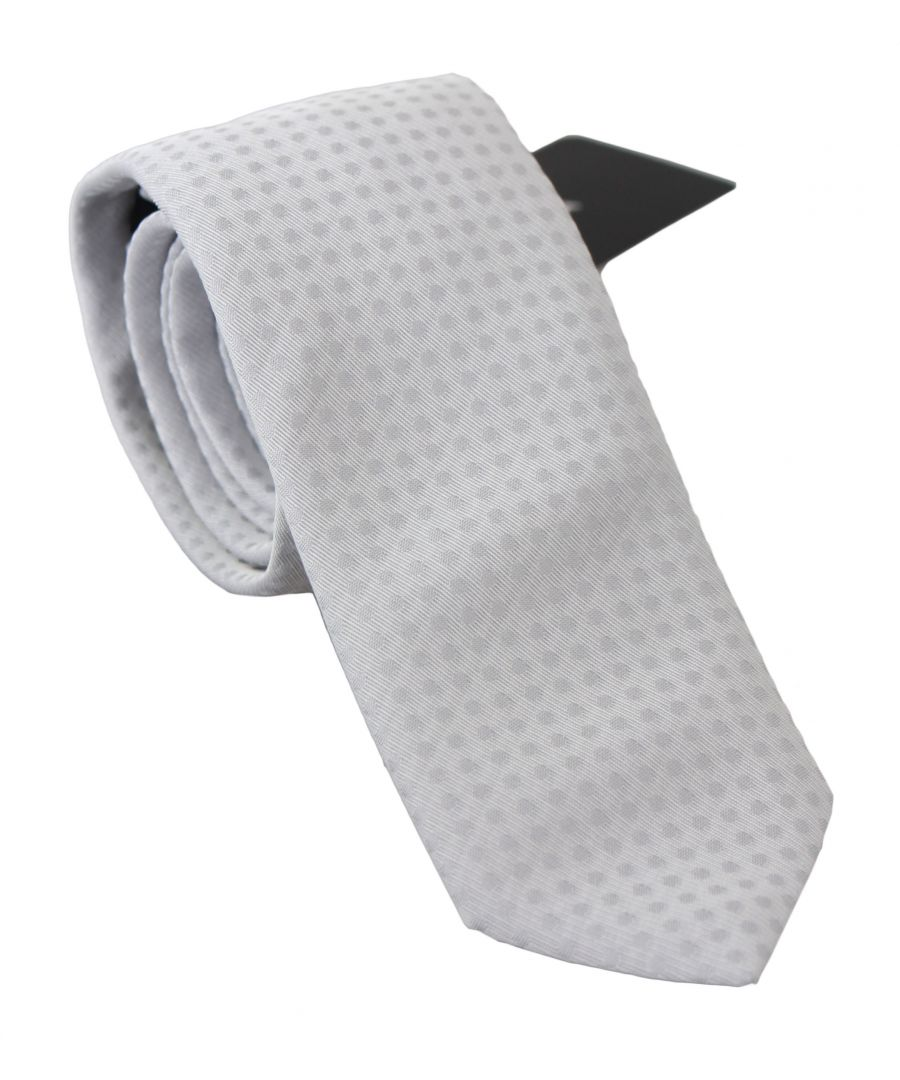 Image for Dolce & Gabbana White Patterned Classic Mens Slim Necktie Tie