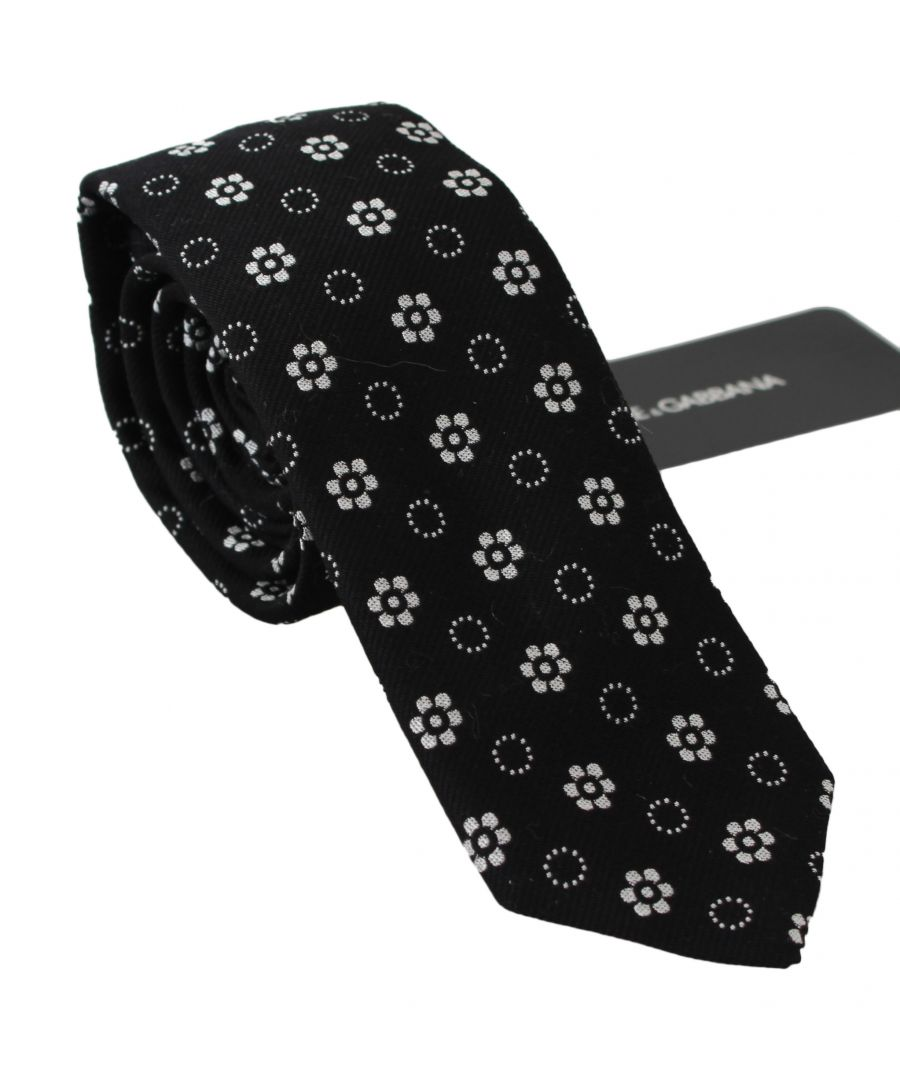 Image for Dolce & Gabbana Black 100% Silk Floral Print Print Classic Tie
