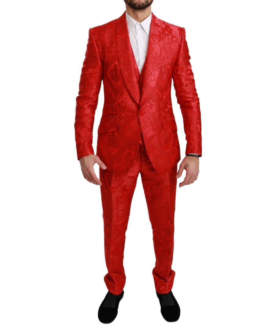 Image for Dolce & Gabbana Red Crown Slim Fit 3 Piece SICILIA Suit