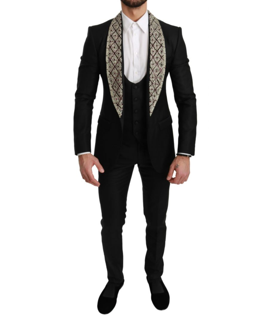 Image for Dolce & Gabbana Black Crystal Wool 3 Piece SICILIA Suit