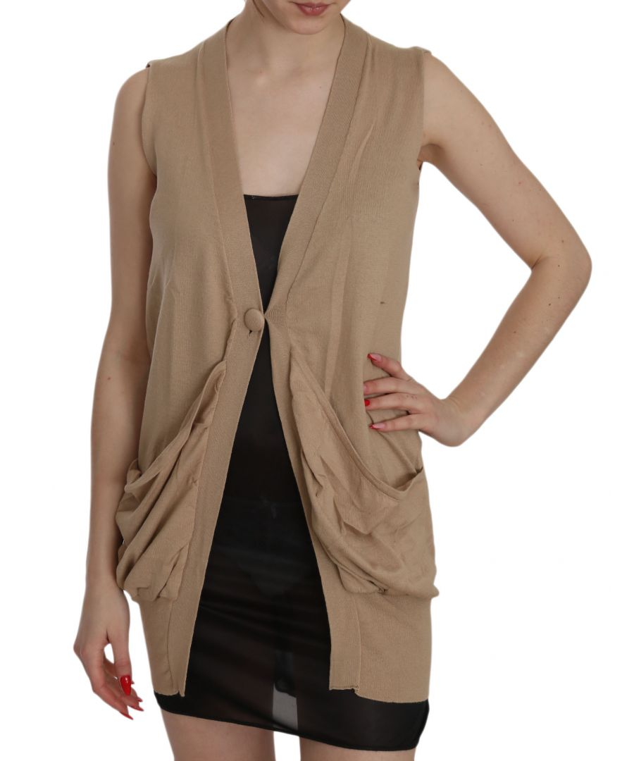 Image for PINK MEMORIES Brown 100% Cotton Sleeveless Cardigan Top Vest