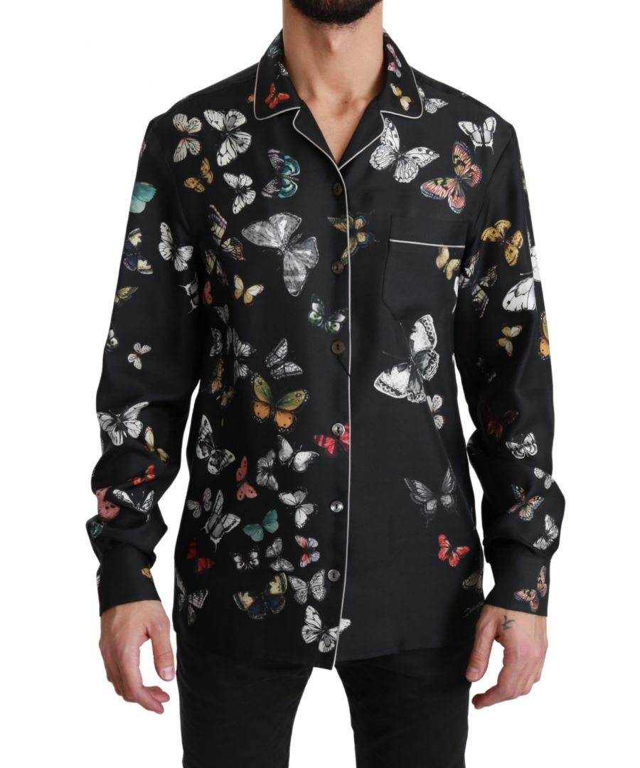 Image for Dolce & Gabbana Black Butterfly Pattern Silk Casual Shirt