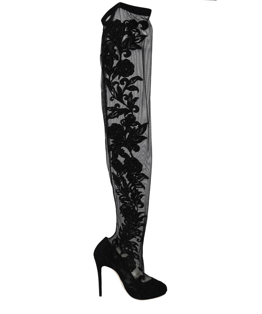 Image for Dolce & Gabbana Black Floral Lace Booties Heels