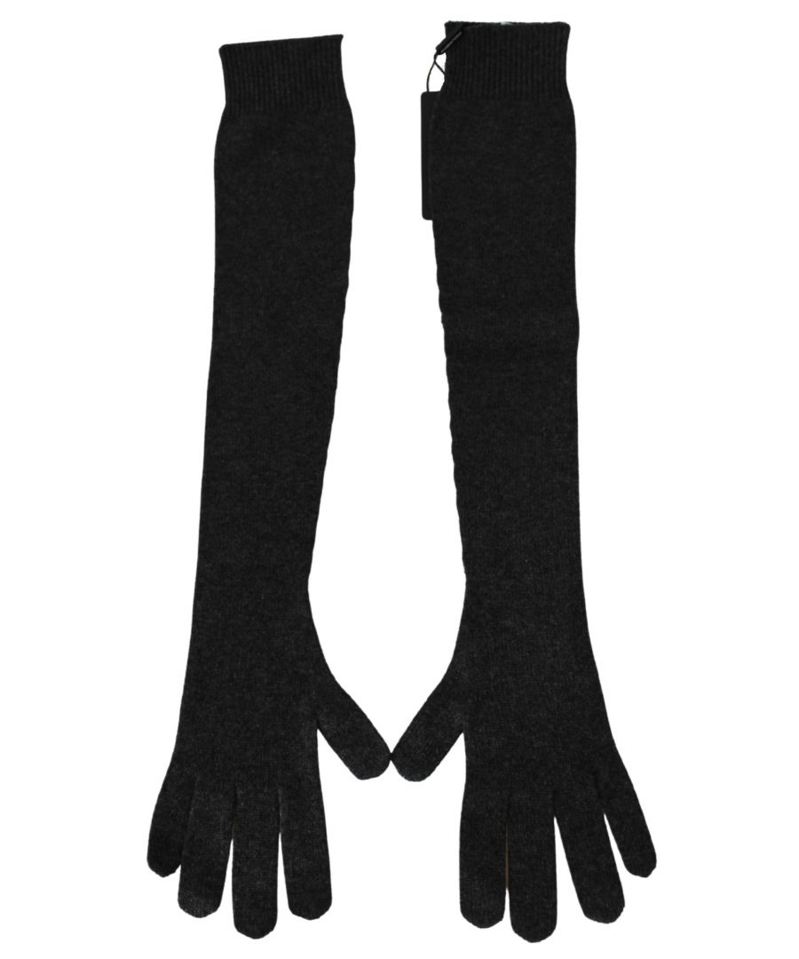 Image for Dolce & Gabbana Gray Elbow Length Soft Warm 100% Cashmere Gloves