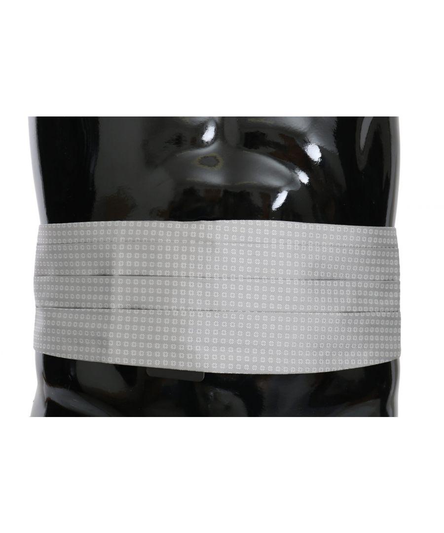 Image for Dolce & Gabbana Gray Patterned Waist Belt Silk Cummerbund