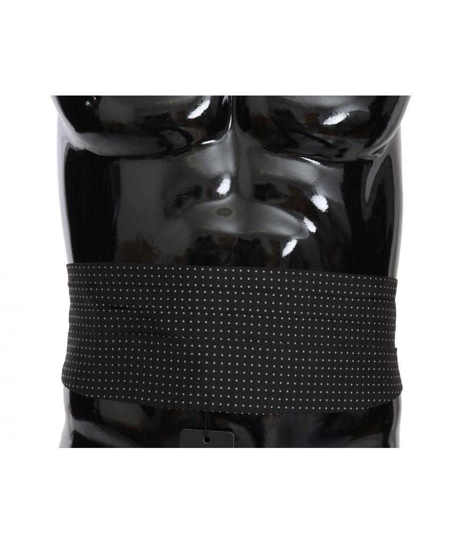 Image for Dolce & Gabbana Black Dotted Waist Belt Silk Cummerbund
