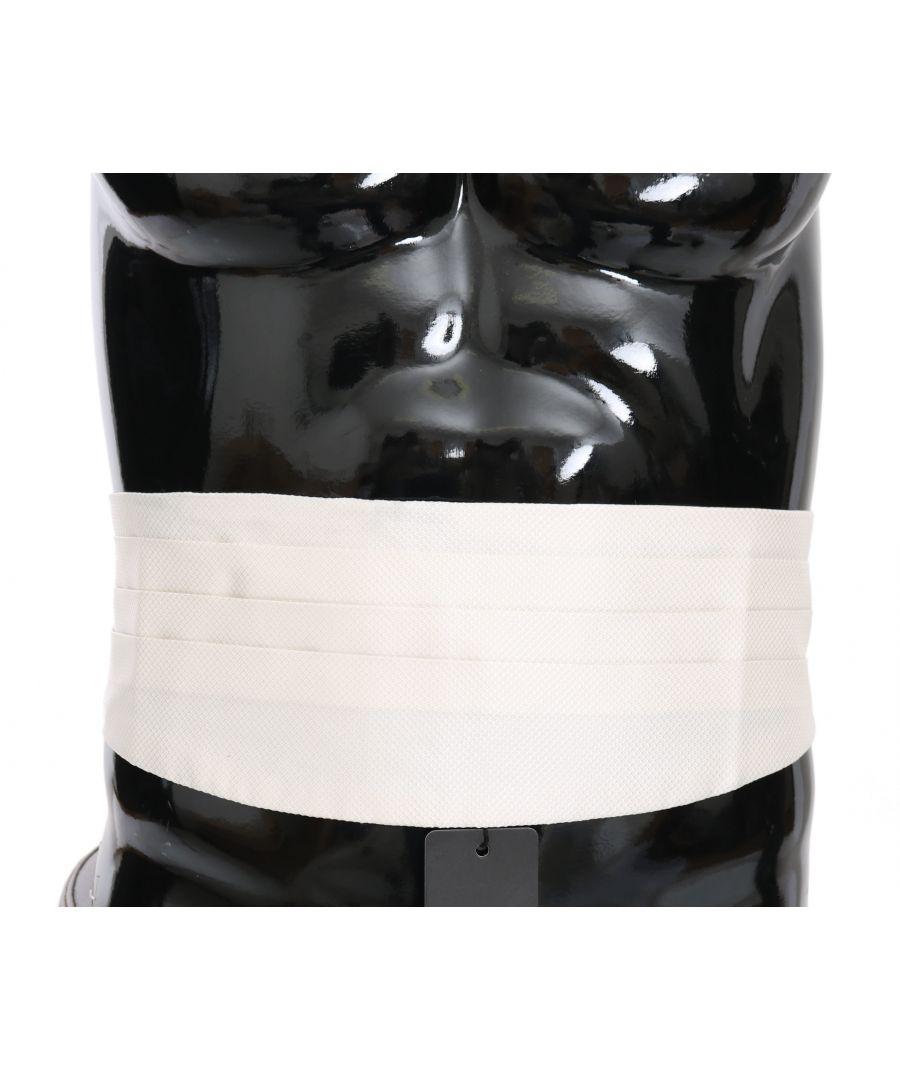 Image for Dolce & Gabbana White Men Waist Belt 100% Silk Cummerbund