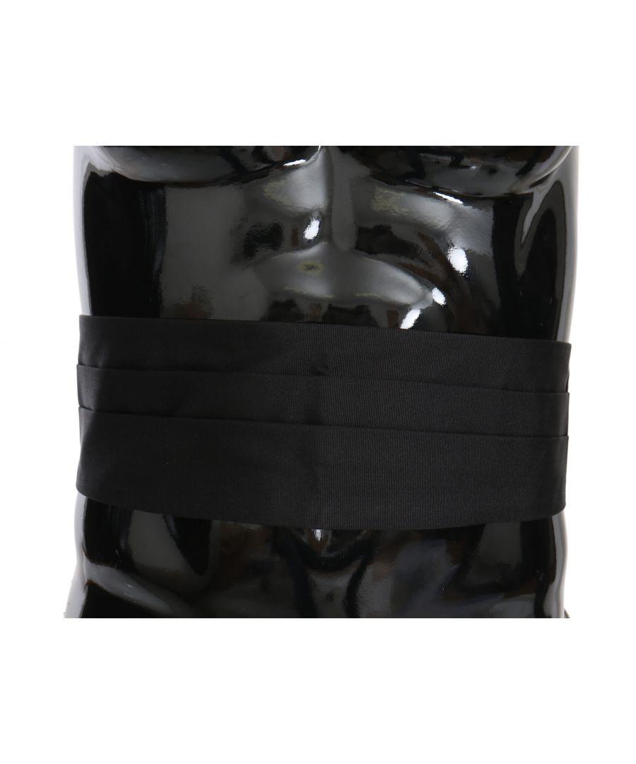 Image for Dolce & Gabbana Black Men Waist Belt 100% Silk Cummerbund