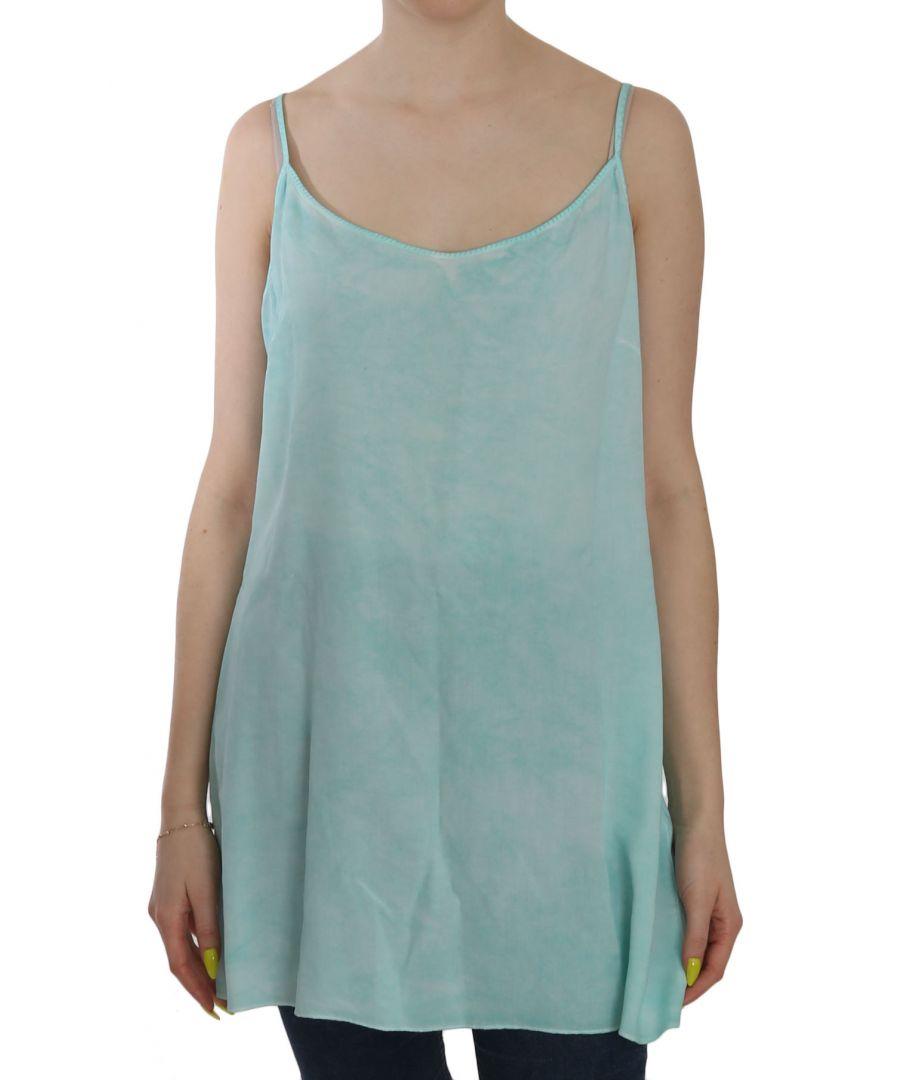 Image for Ermanno Scervino Blue Sleeveless Spaghetti Dress Blouse