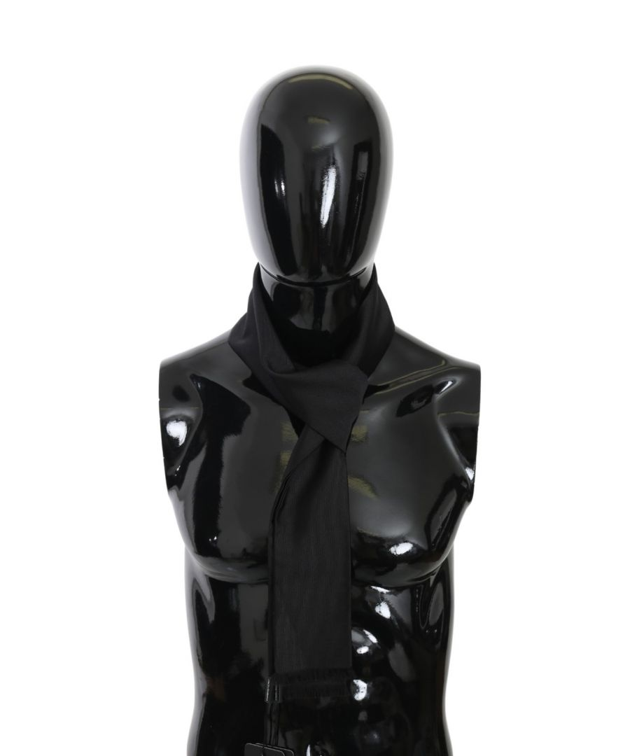 Image for Dolce & Gabbana Black Fringe Slim Wrap Shawl Silk Scarf