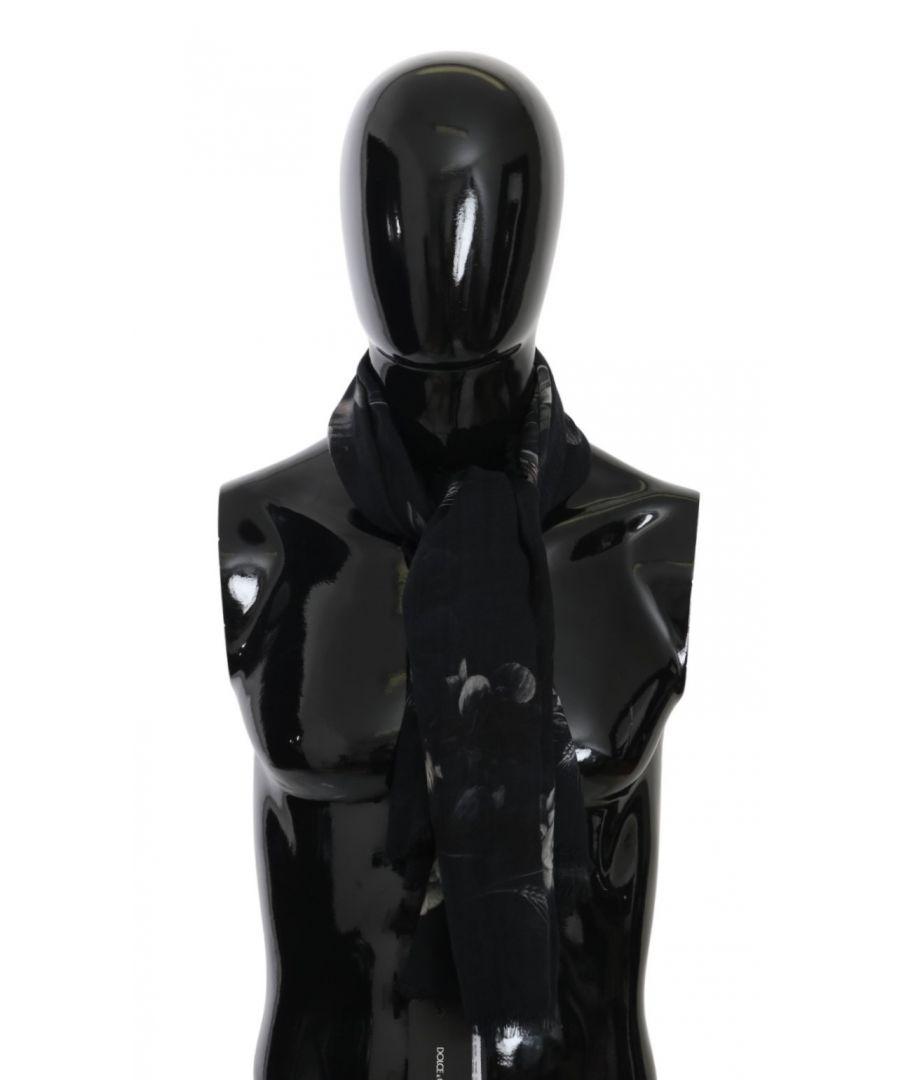 Image for Dolce & Gabbana Black Floral Fringe Wrap Cashmere Scarf