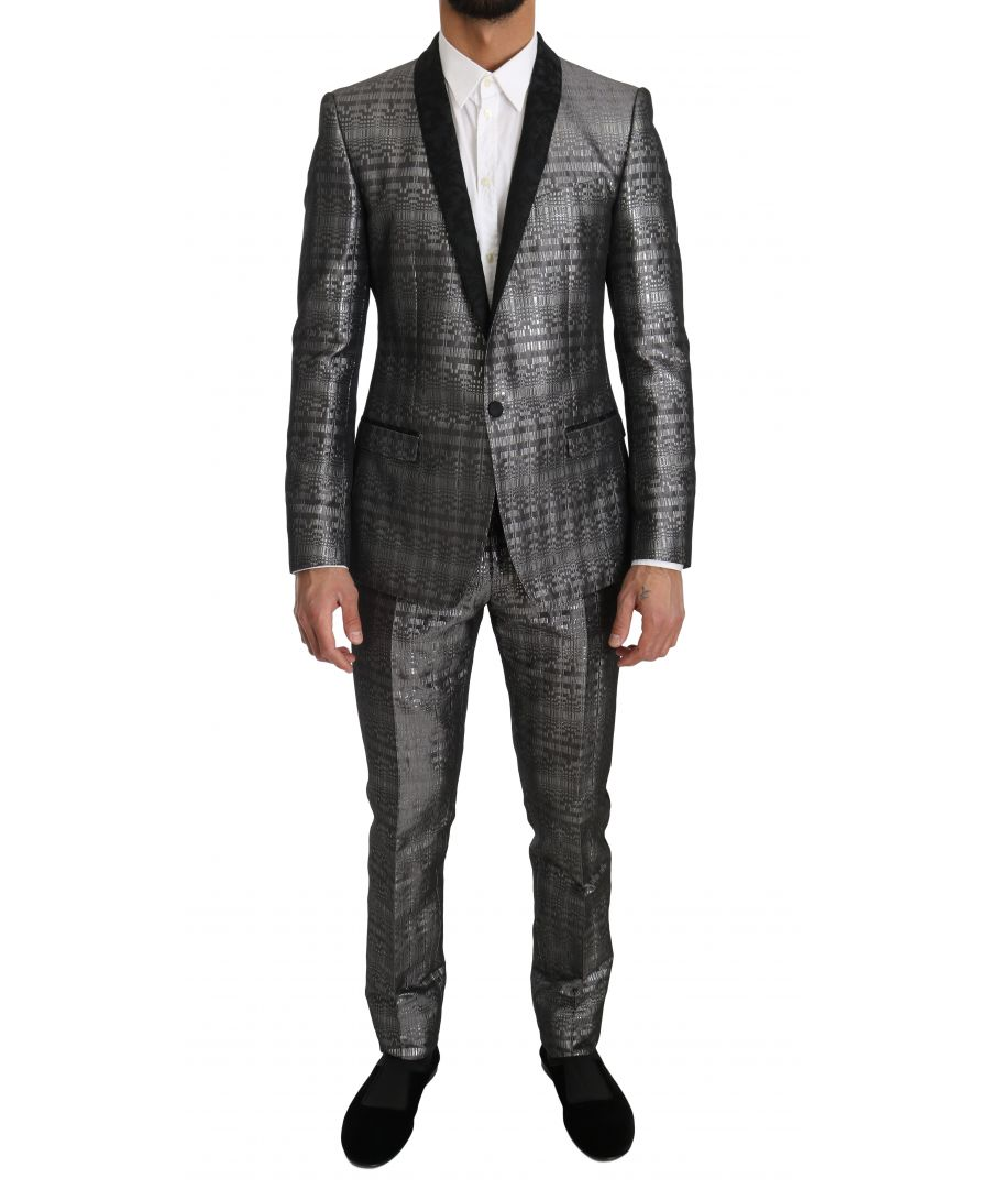 Image for Dolce & Gabbana Silver Gray Shiny GOLD 2 Piece Slim Suit