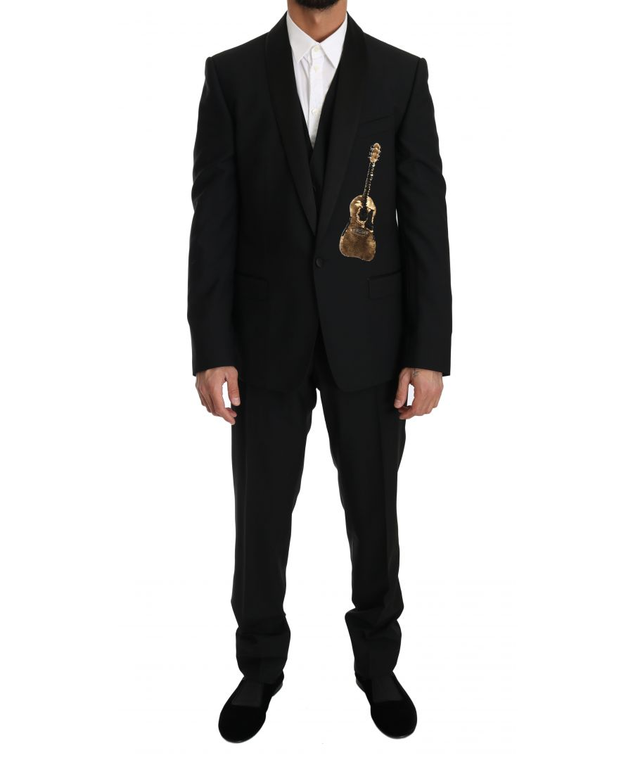 Image for Dolce & Gabbana Black Wool 3 Piece Sequin Guitar Suit