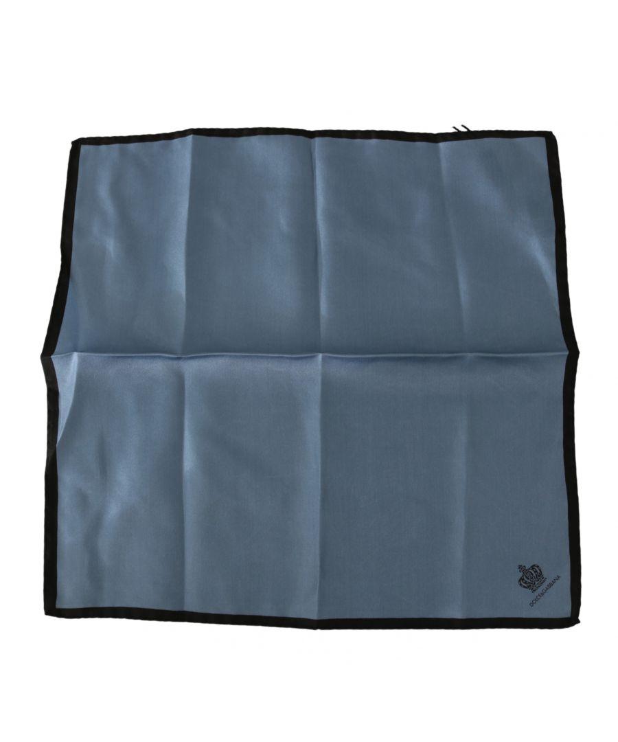 Image for Dolce & Gabbana Blue Crown DG Logo Handkerchief 32cm x 32cm  Silk  Scarf