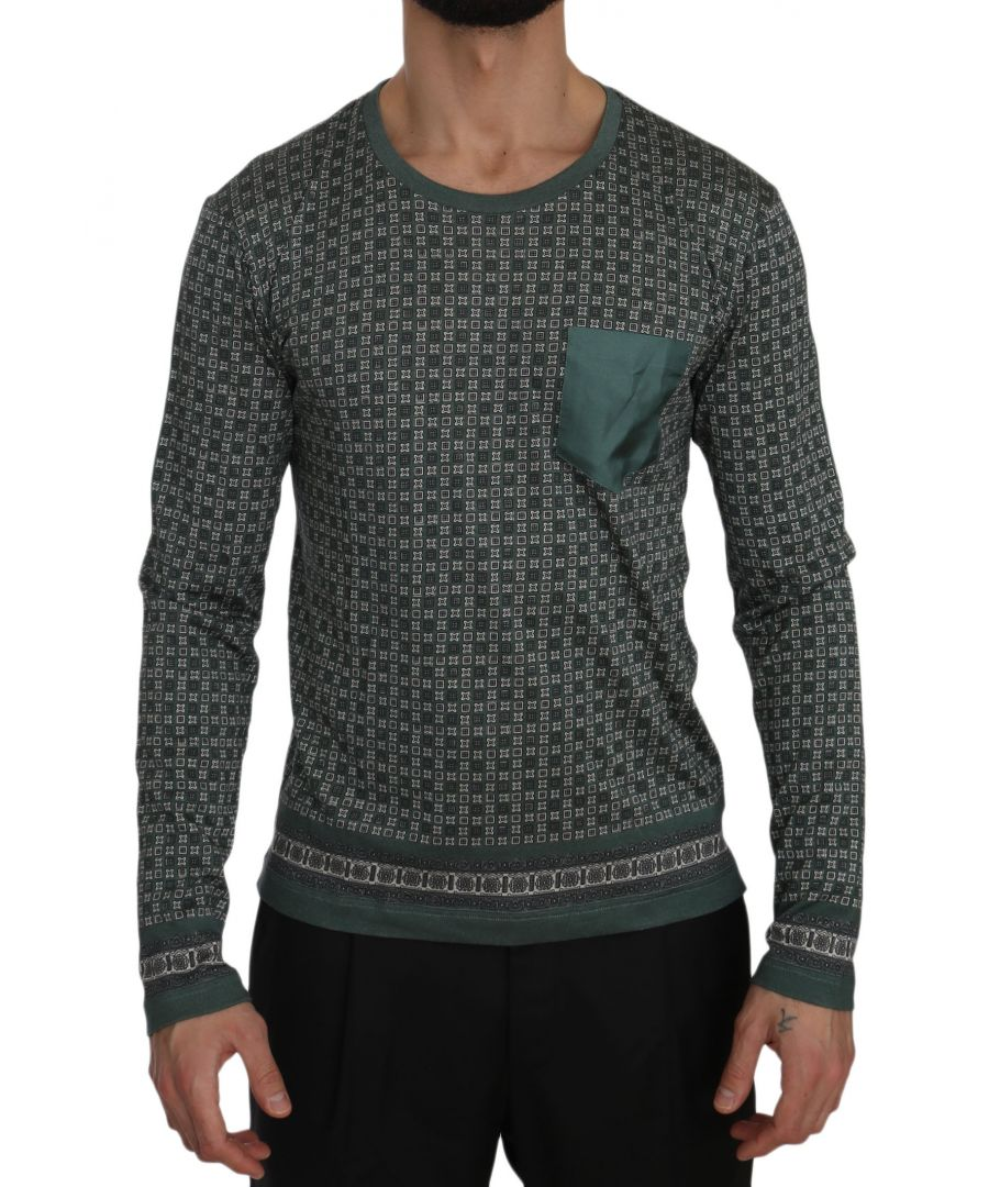 Image for Dolce & Gabbana Green Patterned Round Neck Pullover Sweater