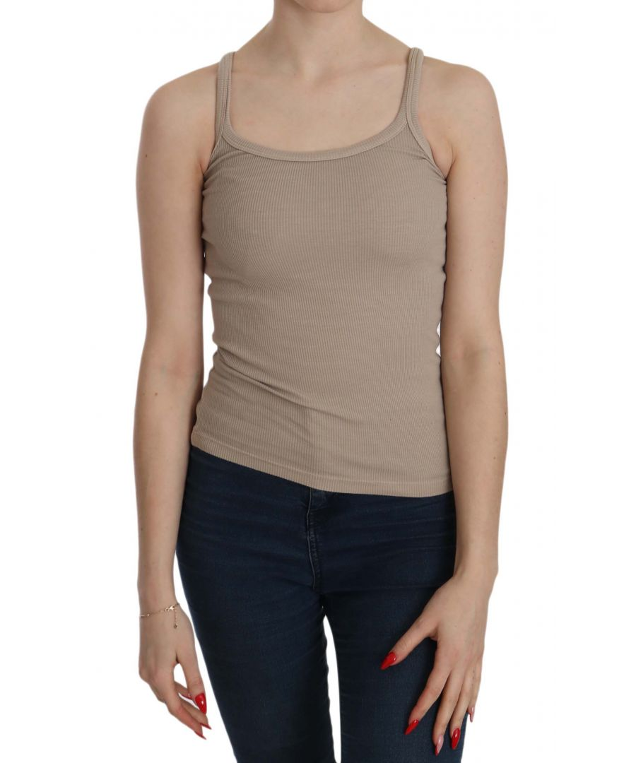 Image for PINK MEMORIES Brown Sleeveless Spaghetti Strap Top Blouse