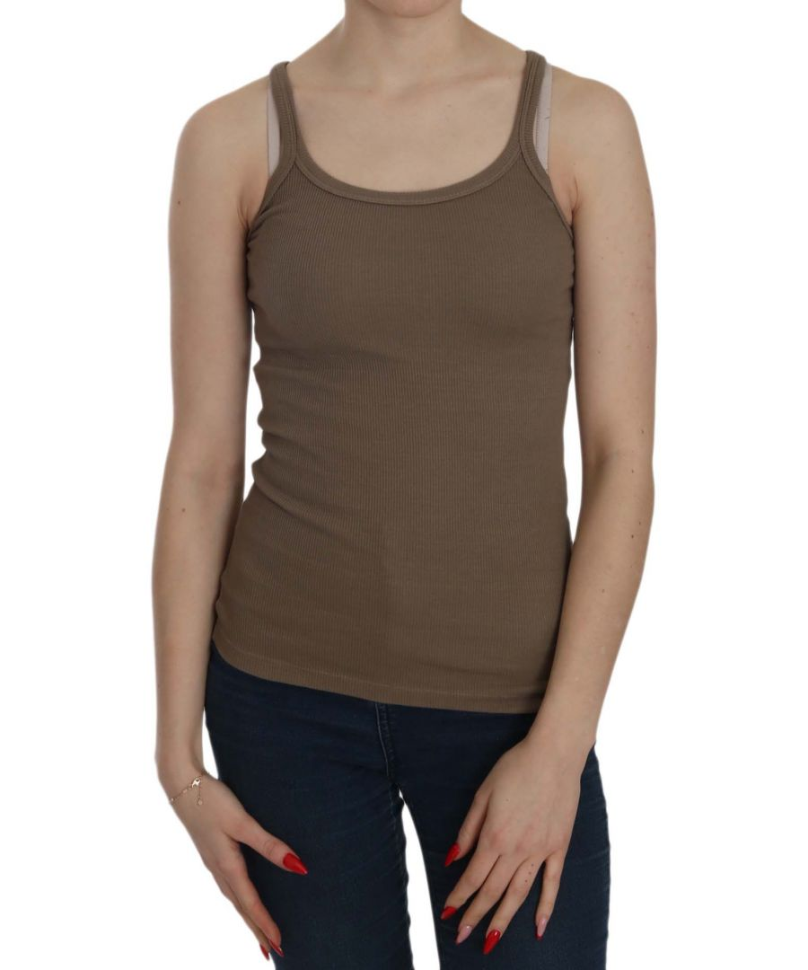 Image for PINK MEMORIES Brown Sleeveless Spaghetti Strap Top