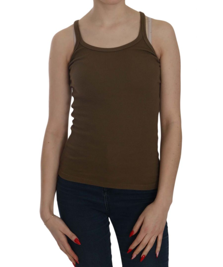 Image for PINK MEMORIES Brown Sleeveless Spaghetti Strap Blouse Top