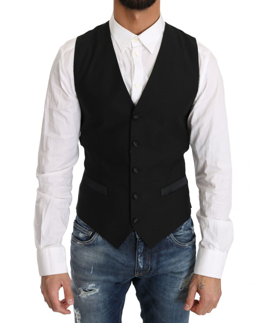 Image for Dolce & Gabbana Black Wool Dress Waistcoat Gillet