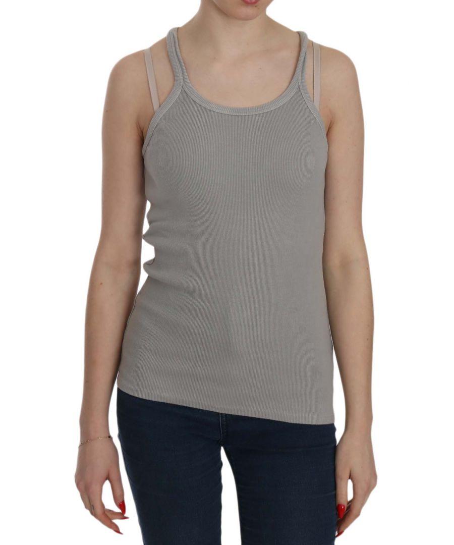 Image for PINK MEMORIES Grey Sleeveless Spaghetti Strap Shirt
