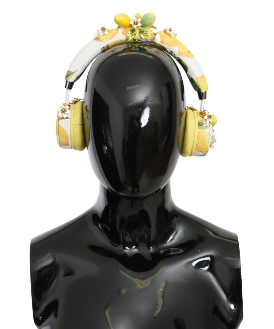 Image for Dolce & Gabbana Yellow Lemon Crystal Floral Headset Headphones