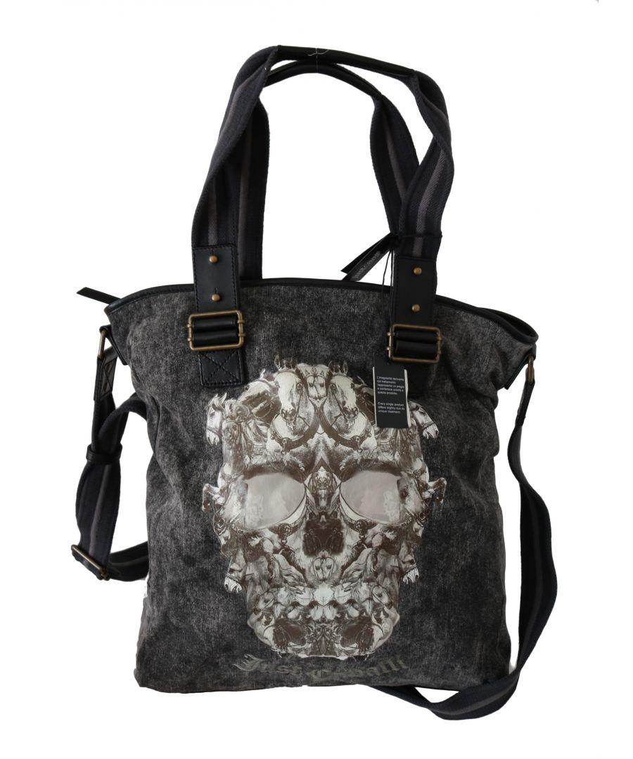 Image for Just Cavalli Black Skull Print Shoulder Tote Women Borse Logo Denim Bag