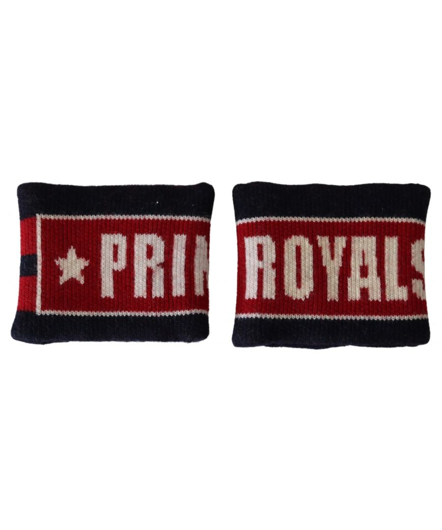 Image for Dolce & Gabbana Black Red Wool DG PRINCE ROYALS Wristband Wrap