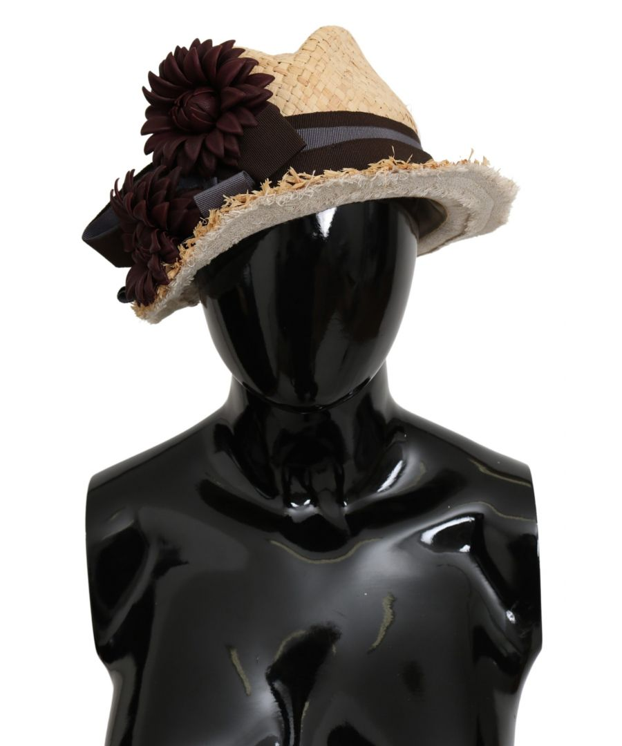 Image for Dolce & Gabbana Beige Woven Floral Floppy Leather Flower Hat