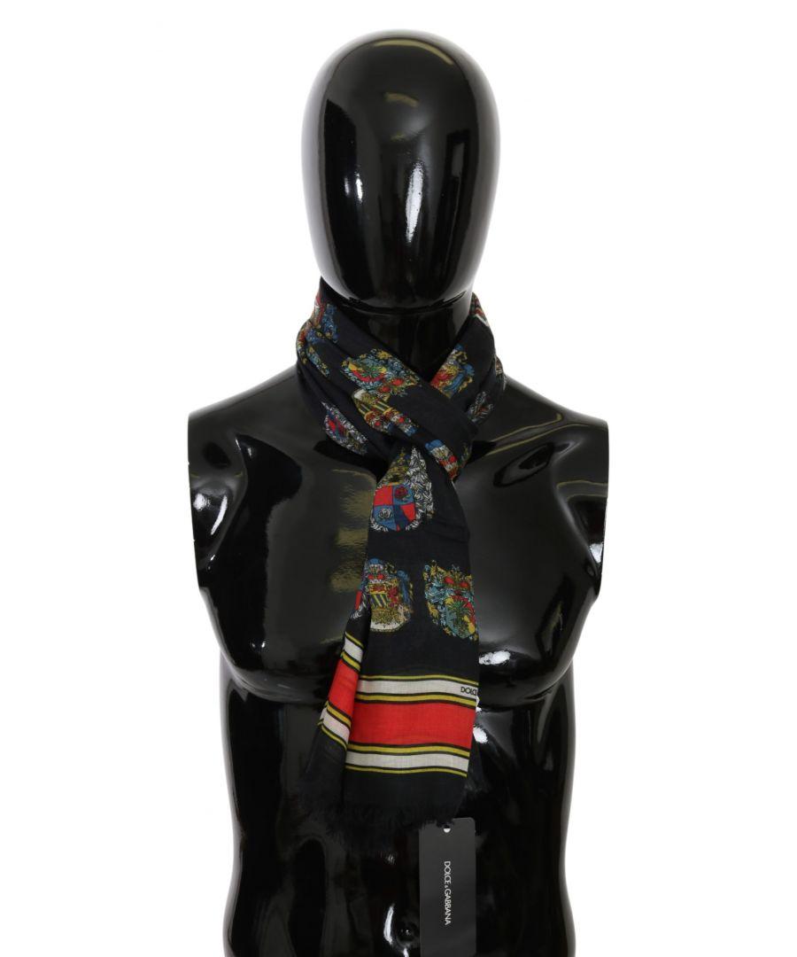 Image for Dolce & Gabbana Schwarze Medaille Hals wickeln Mens Schal Modal Schal